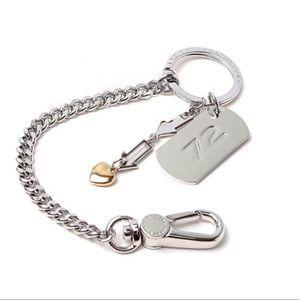 Marc Jacobs Keychain tag heart silver chain Charm